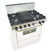 """36"""" Dual Fuel, Convect, Self-Clean, Open Burners, White with Brass"""