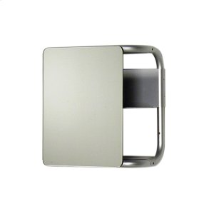 Aeri small, square wall mount aluminum frame with two shelves and a rectangular non-sliding mirror. Product Image