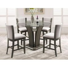 Camelia 5 Piece Counter Height Dining Room Set: Glass Table & 4 Grey Chairs