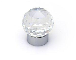 Round Knob 30mm Swarovski Crystal/bright Chrome Brass Material Product Image