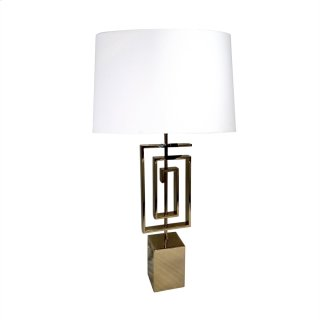 "Stainless Steel 28"" Geometric Table Lamp, Gold"