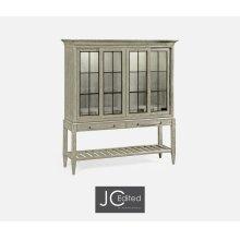 Rustic Grey Glazed Display Double Cabinet