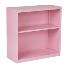 Metal Bookcase In Pink Finish, Ships Fully Assembled.