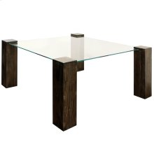 KOBE DINING TABLE- LARGE SQUARE  Vintage Iron Finish on Wood Legs with Floating Glass
