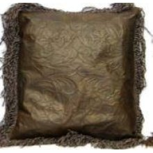 Lg Leather Pillows W/Fringe & Tooled Lthr