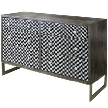 Jayden  54in X 18in X 36in  Six Drawer Chest Made of Hand Inlaid Mosaic Bone