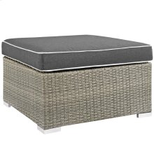 Repose Outdoor Patio Upholstered Fabric Ottoman in Light Gray Charcoal