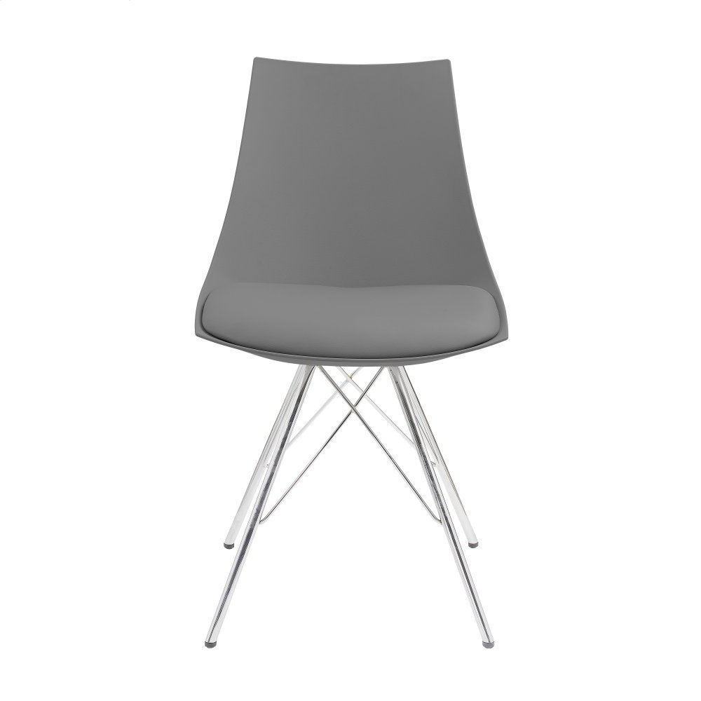Emerald Home Audrey Dining Chair Gray Seat-chrome Base D119chr-32-13
