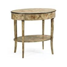 Hamilton Oval Golden Amber Burr Bedside Table
