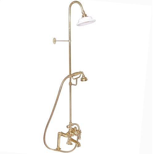 Tub Filler with Diverter Hand-Held Shower and Riser - Lever / Polished Brass