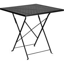 "Commercial Grade 28"" Square Black Indoor-Outdoor Steel Folding Patio Table"