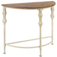Distressed Ivory Spindle Leg Half Circle Console Table