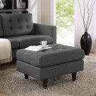 Empress Upholstered Fabric Ottoman in Gray Product Image