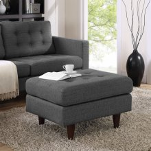 Empress Upholstered Fabric Ottoman in Gray