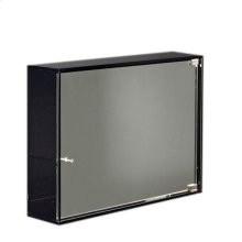 Aeri glass medicine cabinet with two shelves and mirror door.