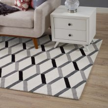 Sigrun Geometric Chevron 5x8 Area Rug in Black and White