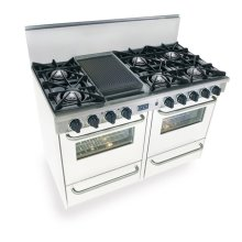 "48"" All Gas Range, Open Burners, White"