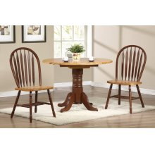 "DLU-TPD4242-820-NLO3PC  3 Piece 42"" Round Drop Leaf Dining Set  Arrowback Chairs"