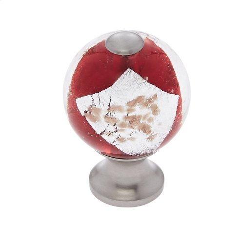 Satin Nickel 30 mm Red Knob