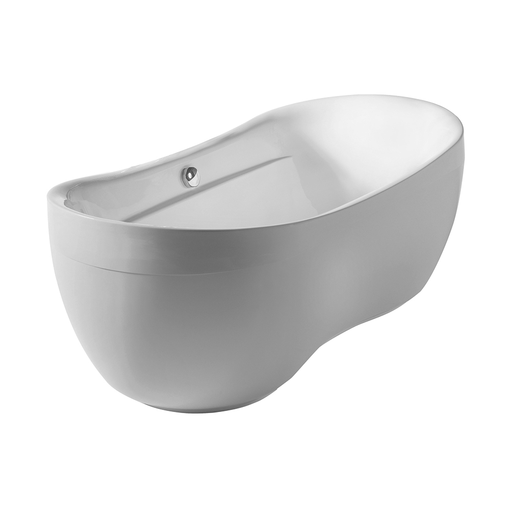 Bathhaus oval double-ended freestanding bathtub with curved rim made of Lucite® acrylic with a chrome mechanical pop-up waste and a chrome center drain with an internal overflow.