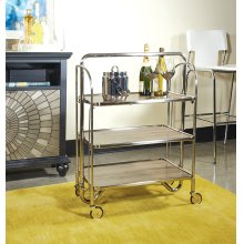 Sarita Folding Trolley In Brushed Nickel Finish With Three Tiers K/d With Casters