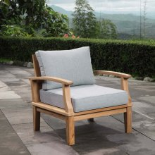 Marina Outdoor Patio Teak Armchair in Natural Gray
