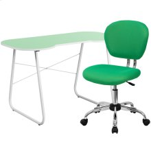 Green Computer Desk and Mesh Chair