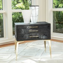 Stiletto Bedside Table-Black Hair-on-Hide