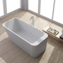 Free standing soaking bathtub made of white solid surface with overflow and solid surface pop up drain water capacity 84.5 gal