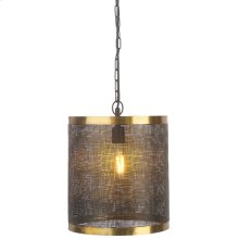 Black & Gold Cylinder Wavy Mesh Pendant. 60W Max. Hard Wire Only.