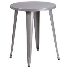 "Commercial Grade 24"" Round Silver Metal Indoor-Outdoor Table"