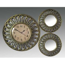 ANTIQUE GOLD 3PC. CLOCK AND MIRROR SET