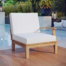 Marina Outdoor Patio Teak Right-Facing Sofa in Natural White Product Image