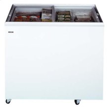 """Flat top commercially approved ice cream freezer with two sliding glass lids; 21"""" depth and 10 tub capacity"""