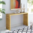 Gridiron Stainless Steel Console Table in Gold Product Image
