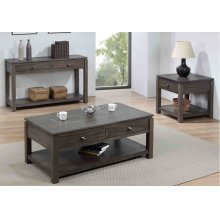 DLU-EL1602-04-08  3 Piece Living Room Table Set with Drawers and Shelves  Gray