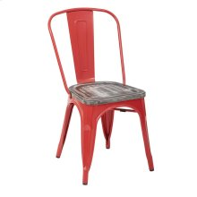 Bristow Metal Chair With Vintage Wood Seat, Red Finish Frame & Ash Crazy Horse Finish Seat, 4 Pack