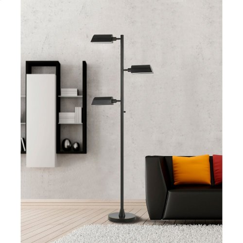 7W X 3, 450 Lumen/Light, 3000K, LED Swivel Floor Lamp With Metal Shade