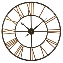 Black & Gold Open Face Roman Numeral Wall Clock with Stud Frame