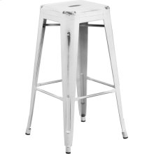 """Commercial Grade 30"""" High Backless Distressed White Metal Indoor-Outdoor Barstool"""
