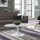 """Lippa 42"""" Oval-Shaped Wood Top Coffee Table in White Product Image"""