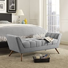 Response Medium Upholstered Fabric Bench in Expectation Gray