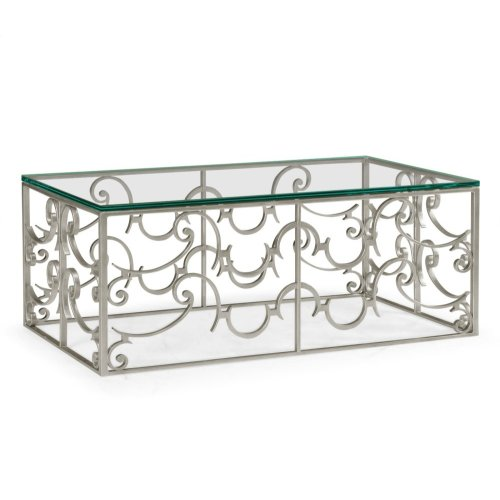 Rectangular Arabesque Silver-Leaf Iron Coffee Table with 20mm Clear Glass Top