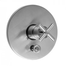 Antique Brass - Round Plate With Slim Cross Trim For Pressure Balance Cycling Valve With Built-in Diverter (J-DIV-CSV)