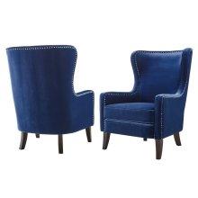 "Rosco Velvet Accent Chair w/ Silver Nailhead Navy30""x36""x42"""