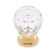 24k Gold 30 mm Round Faceted Knob