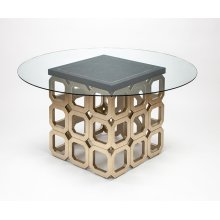 "Dining Table Base with Glass 28x28x30"", glass top dia.60"""