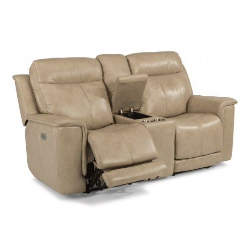 Miller Leather Power Reclining Loveseat with Console and Power Headrests