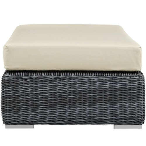 Summon Outdoor Patio Sunbrella® Rectangle Ottoman in Canvas Antique Beige