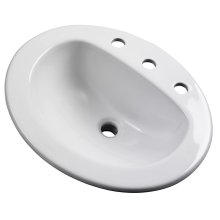 """White Maxwell® Oval 8"""" Centers Self-rimming Bathroom Sink"""